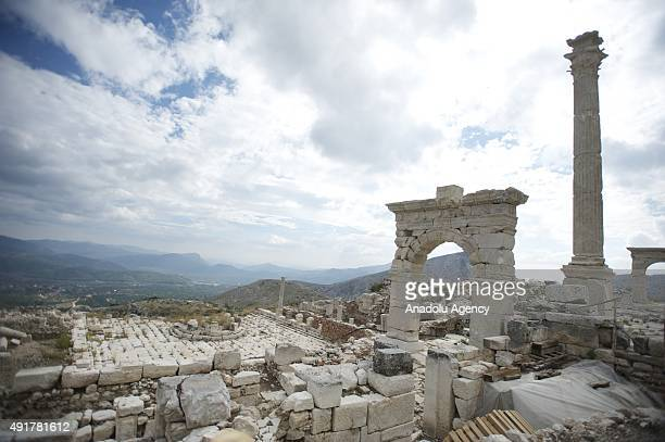 A view of ancient city of Sagalassos one of the largest archaeological digging sites in the country located in near the present town of Aglasun in...