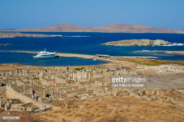 View of ancient ruins, Delos, Cyclades, Greece