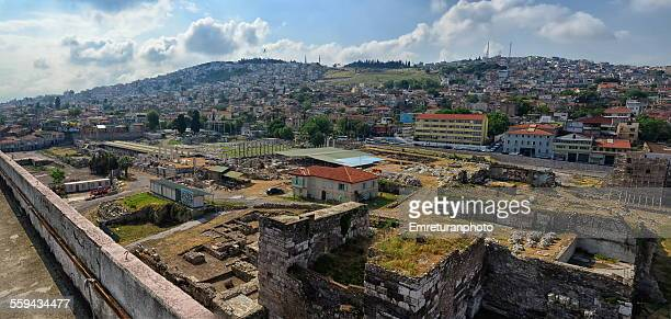 view of ancient symrna agora - emreturanphoto stock pictures, royalty-free photos & images