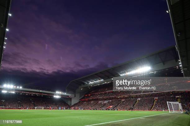 A view of Anfield at dusk during the FA Cup Third Round match between Liverpool and Everton at Anfield on January 5 2020 in Liverpool England