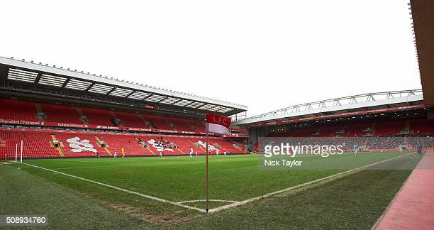 A view of Anfield stadium during the Liverpool v Manchester City Barclays U21 Premier League game at Anfield on February 7 2016 in Liverpool England
