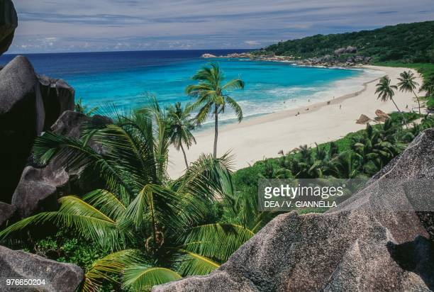 View of Anse Source d'Argent beach, La Digue island, Seychelles.