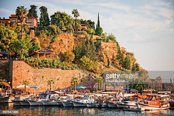 view of antalya old city harbor, antalya, turkey - antalya stock-fotos und bilder
