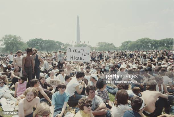 View of anti Vietnam War demonstrators protesting in the National Mall in front of the Washington Monument during a march to protest against the Kent...