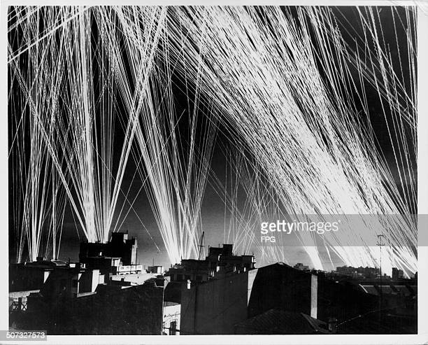 A view of antiaircraft gunfire over the city of Oran during World War Two Algeria January 21st 1943
