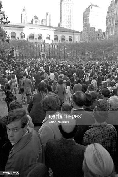 View of antiwar demonstrators in Bryant Park as they protest the Vietnam War New York New York October 15 1969 Tens of thousands of demonstrators...