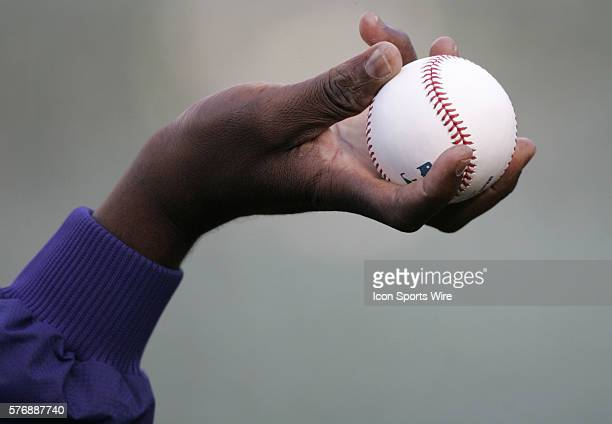 A view of Antonio Alfonseca's hand is pictured holding a ball during a warmup before the game against the Athletics at McAfee Coliseum in Oakland...