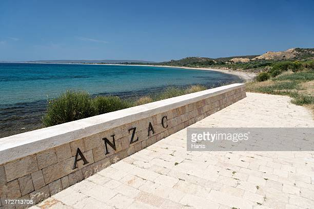 View of Anzac sign with water and coast in background
