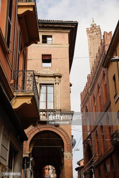 """view of appartements in the streets in the city of bologna, italy. - """"martine doucet"""" or martinedoucet stock pictures, royalty-free photos & images"""