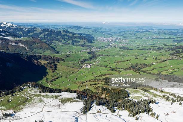 View of Appenzellerland region as seen from hoher Kasten mountain, canton of Appenzell-Innerrhoden, Switzerland, Europe