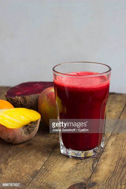 View Of Apple In Beetroot Juice In Glass