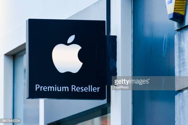 A view of Apple logo in Dublin's city center On Friday March 24 in Dublin Ireland
