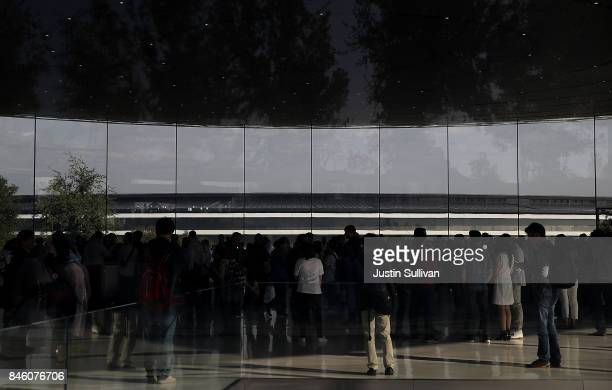 A view of Apple Park from the Steve Jobs Theatre on September 12 2017 in Cupertino California Apple is holding their first special event at the new...