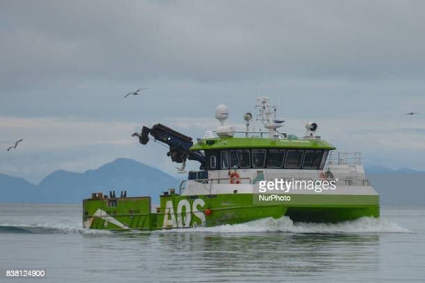 A view of AQS Hermod cargo boat near Rolla and Andorja Island Salmon is Norway's bestknown food product abroad and Norway's biggest export after oil...