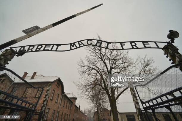 A view of 'Arbeit Macht Frei sign on the entrence gate to the former Auschwitz 1 camp just a few days ahead of the 73rd Anniversary of the Liberation...