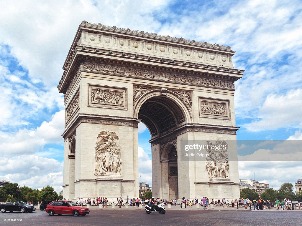 view of arc de triomphe during the day paris stock photo getty images. Black Bedroom Furniture Sets. Home Design Ideas