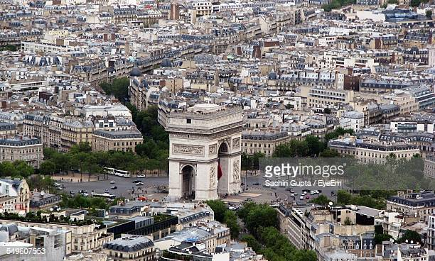 view of arc de triomphe - place charles de gaulle paris stock photos and pictures