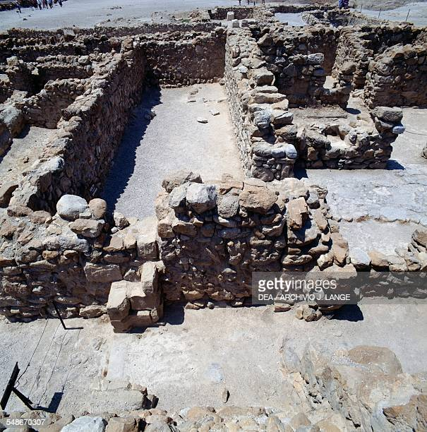 View of archaeological excavations ancient Essene settlement of Khirbet Qumran 1st century BC1st century AD Israel