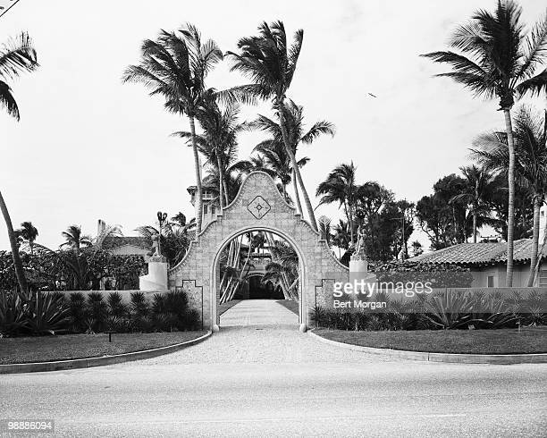 View of arched street entrance to MaraLago Palm Beach Florida mid 1950s The residence designed by Marion Sims Wyeth and Joseph Urban was the home of...