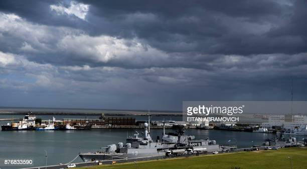View of Argentina's Navy destroyer ARA Sarandi docked for refueling after taking part in the search of missing submarine ARA San Juan at Argentina's...