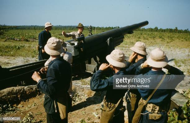 A view of army soldiers at artillery training at Fort Brag in Fayetteville North Carolina in 1942