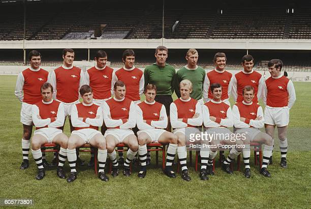 View of Arsenal FC football team squad posed together on the pitch at Highbury stadium on July 20th 1968 prior to the start of the 196869 season Back...
