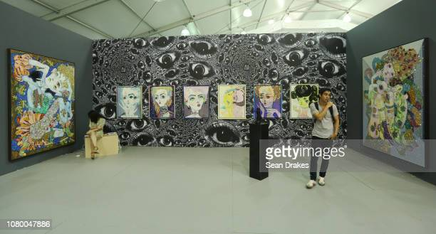 View of artwork by Del Kathryn Barton presented by Albertz Benda of New York at Untitled Art as part of the 2018 Art Basel Miami Beach on December 8...
