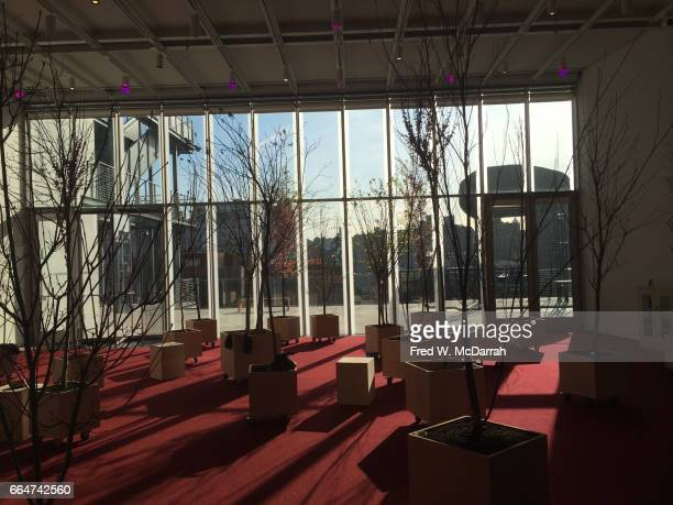 View of Asad Raza's installation 'Root sequence Mother tongue' on display during the Whitney Biennial New York New York March 13 2017