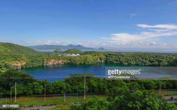 View of Asososca volcanic lagoon in Managua on October 16 2017 Apoyo the largest and most crystalline lagoon of volcanic origin in the country has...