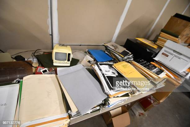 A view of assorted files on a table in the Michael Ochs Archives on May 10 2018 in Los Angeles California