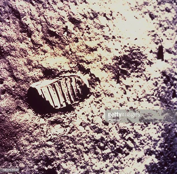 View of astronaut footprint in lunar soil Apollo XI mission on Moon July 2021 1969