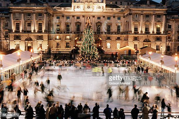View of at the Somerset House Ice Rink with its huge Christmas Tree. Since opening in 2000 it has been acknowledged around the world as a premier...
