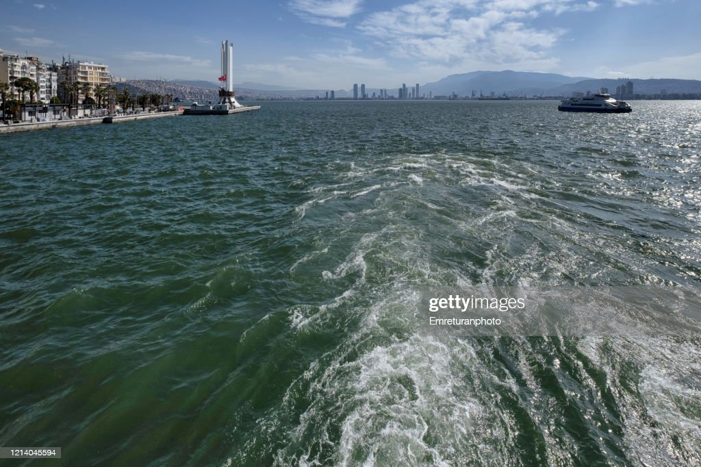 View of Ataturk monument and Karsiyaka shore from a landing ferry boat : Stock Photo