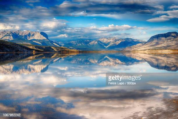 view of athabasca river, canada - provinz alberta stock-fotos und bilder