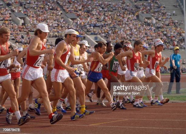 View of athletes competing at the start of the Men's 20 kilometres walk event at the 1980 Summer Olympics inside the Central Lenin Stadium in Moscow,...
