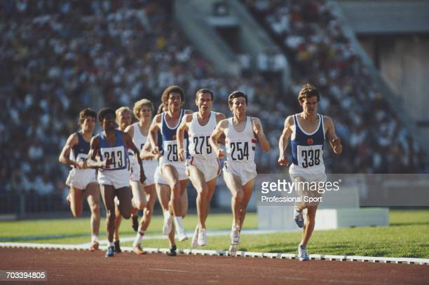 View of athletes competing in the final of the 1500 metres event at the 1980 Summer Olympics with from left Vittorio Fontanella of Italy Jose Marajo...