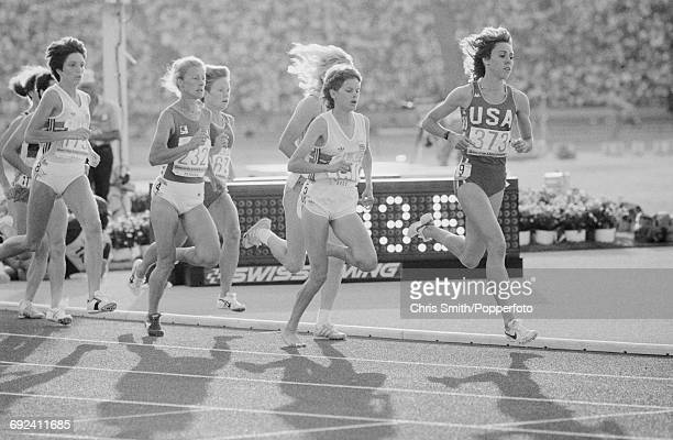 View of athletes competing in the final of the Women's 3000 metres event with from left silver medal winner Wendy Sly of Great Britain Agnese...