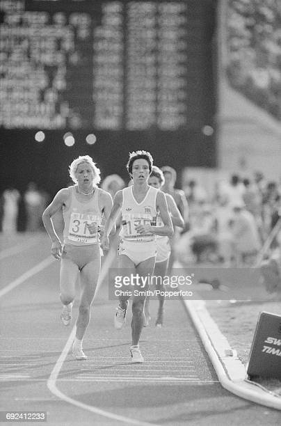 View of athletes competing in the final of the Women's 3000 metres event with from left gold medal winner Maricica Puica of Romania following silver...