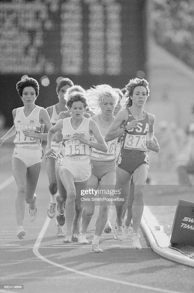 View of athletes competing in the final of the Women's 3000 metres event, with from left, Wendy Sly of Great Britain (175), Zola Budd of Great Britain (151) running barefoot, gold medal winner Maricica Puica of Romania (316), and Mary Decker of the United States (373) at the 1984 Summer Olympics inside the Memorial Stadium in Los Angeles, United States on 10th August 1984. Budd and Decker would collide on several occasions during the race which resulted in Decker crashing out and Budd finishing seventh.