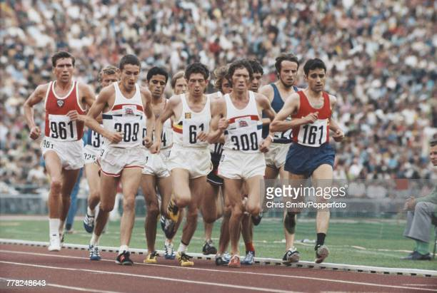 View of athletes competing in the Men's 5000 metres event at the 1972 Summer Olympics in Munich West Germany in September 1972 Athletes pictured...