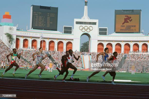 View of athletes from left to right Moussa Fall of Senegal Steve Ovett of Great Britain eventual bronze medal winner Earl Jones of United States Omar...