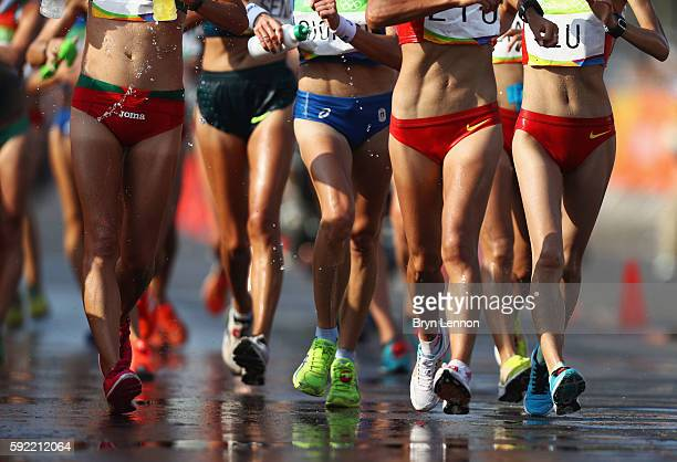 A view of athletes legs as they compete in the Women's 20km Walk final on Day 14 of the Rio 2016 Olympic Games at Pontal on August 19 2016 in Rio de...