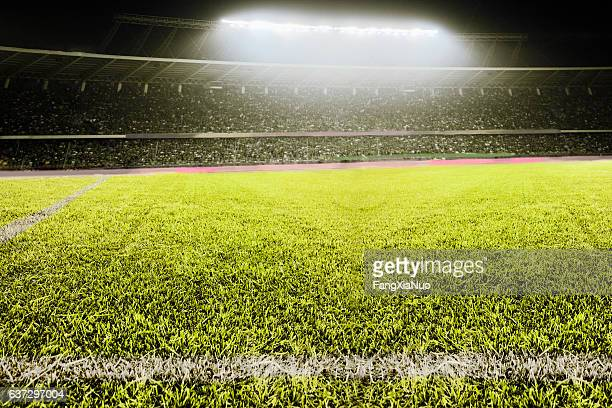 view of athletic soccer football field - campeonato mundial - fotografias e filmes do acervo
