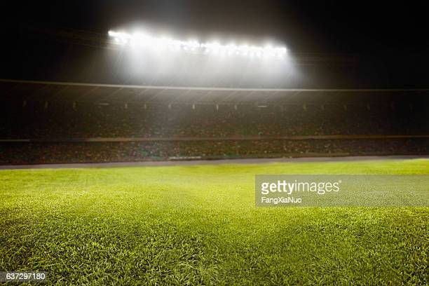 view of athletic soccer football field - voetbalveld stockfoto's en -beelden