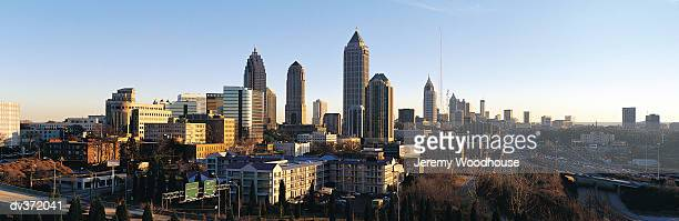 view of atlanta skyline, georgia, usa - atlanta bildbanksfoton och bilder