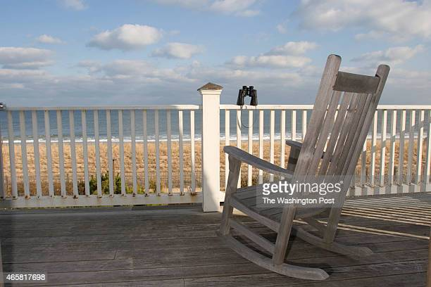 View of Atlantic Ocean from master bedroom of Frank Hurley and Kit Dorrier's Bethany Beach Delaware beach home Jim Rill of Rill Architects designed...