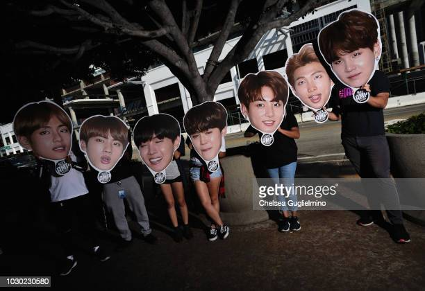 A view of atmosphere as fans await the BTS concert as part of the Love Yourself North American Tour at Staples Center on September 9 2018 in Los...