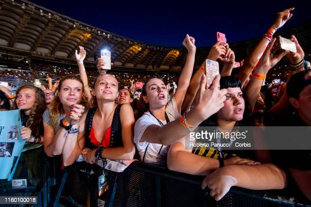 A view of atmosphere as Ultimo performs at Olimpico Stadium on July 4 2019 in Rome Italy