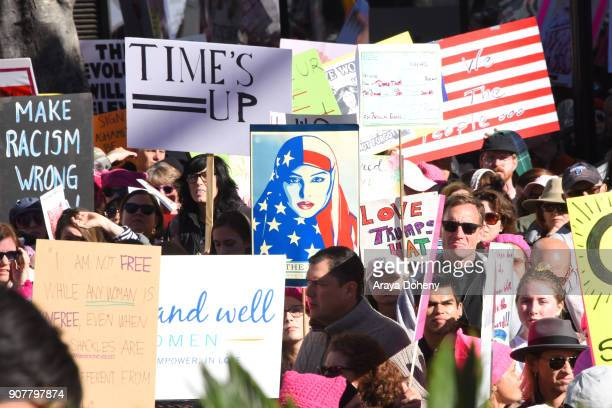 view of atmosphere at 2018 Women's March Los Angeles at Pershing Square on January 20 2018 in Los Angeles California