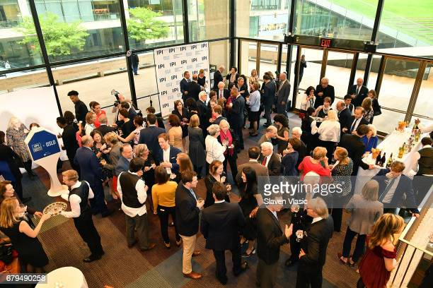 A view of atmosphere at preshow VIP reception for Oslo special performance hosted by the International Peace Institute at Vivian Beaumont Theatre on...